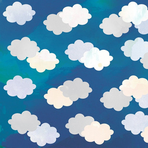 Clouds Scattered on Blue Lake Fabric
