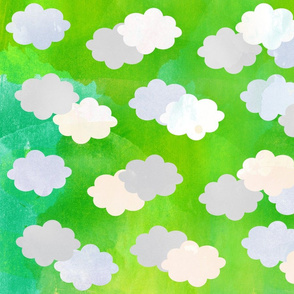 Clouds Scattered on Lime Green Fabric