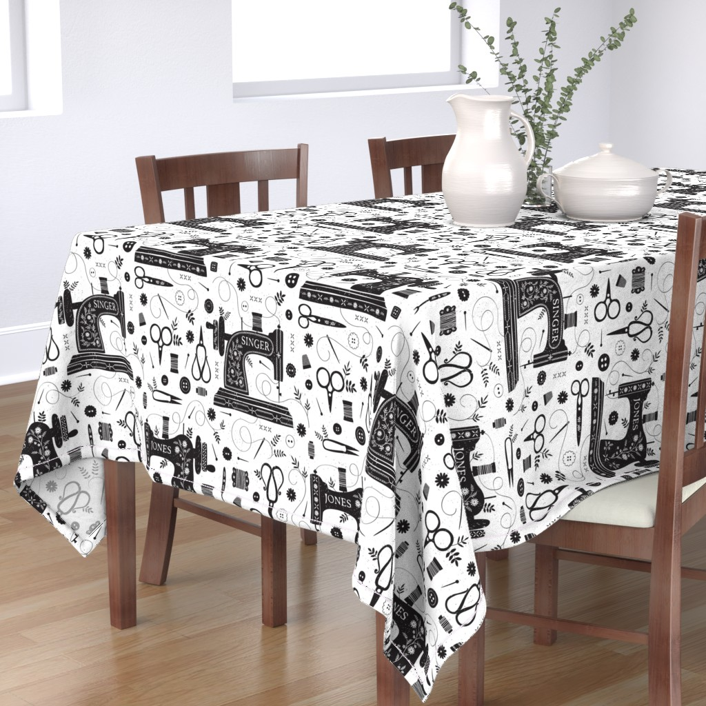 Bantam Rectangular Tablecloth featuring Sew Vintage // by petite_circus // sewing machine black and white by petite_circus