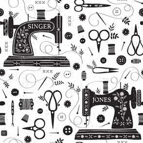 Sew Vintage // by petite_circus // sewing machine black and white
