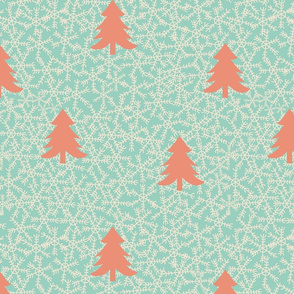 Snowflake-trees-pattern-orange-aqua