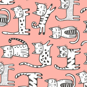Cats with Black&White Stripes on Peach Large Rotated