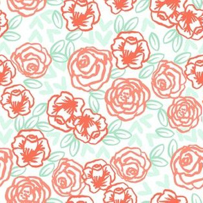 roses // coral peach and mint florals half-size rose illustration hand-drawn girls florals cute floral design