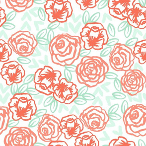 roses // coral peach and mint rose fabric girls florals cute hand drawn rose floral fabric