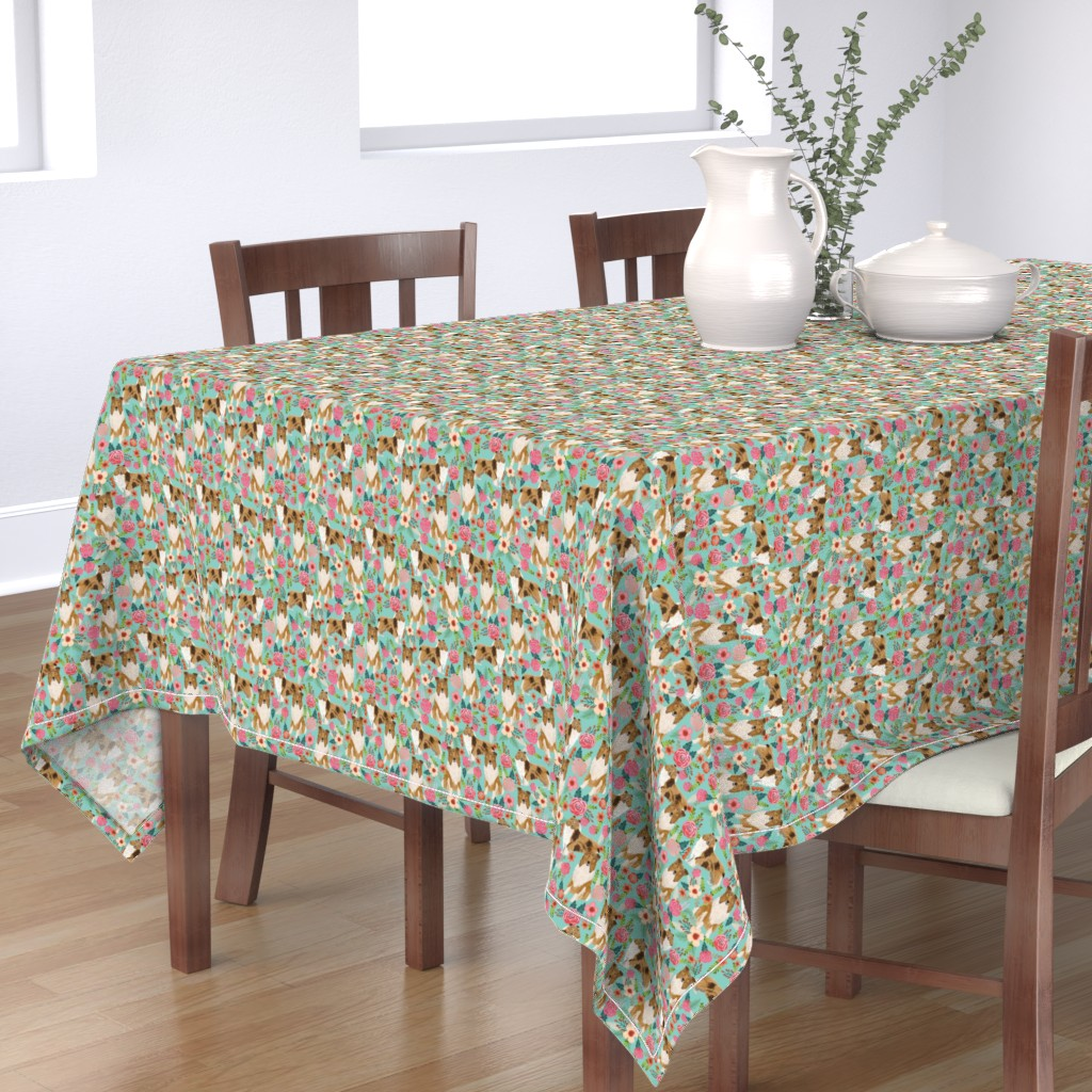 Bantam Rectangular Tablecloth featuring rough collie florals fabric cute collies design best collie dog fabric floral vintage florals les fleurs fabric by petfriendly