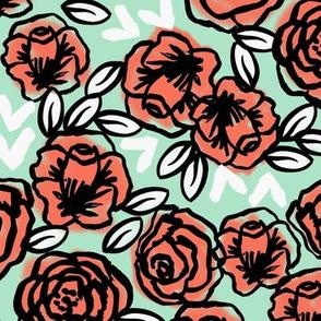 roses // mint coral roses girls mint florals floral fabric andrea lauren design andrea lauren fabric girls florals