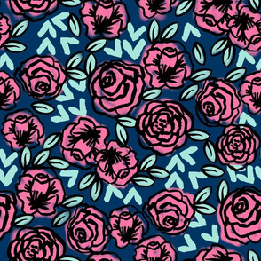 roses // vintage style roses floral fabric navy blue and pink rose fabric cute girls fabric les fleurs fabric florals