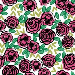 roses // pink and green roses florals fabric cute floral roses vintage style rose fabric
