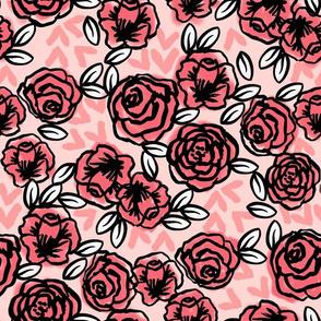 roses // vintage florals pink roses valentines fabric cute rose design les fleurs fabric