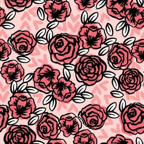 roses // pink florals vintage roses rose fabric pink flowers floral design