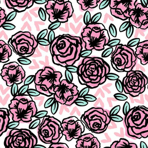 roses // pink rose cute girls valentines floral fabric pink roses florals fabric pink rose