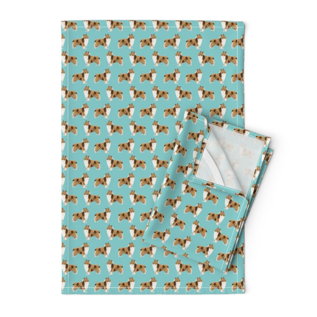 Orpington Tea Towels featuring rough collie dog fabric cute rough collie print pattern for sewing quilters cute dog design by petfriendly