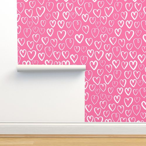 Wallpaper Hearts Pink Hearts Fabric Heart Fabric Valentines Print Pattern Illustration Heart Girls Nursery Baby Cute Valentines Day Design