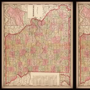 Missouri map, vintage, small
