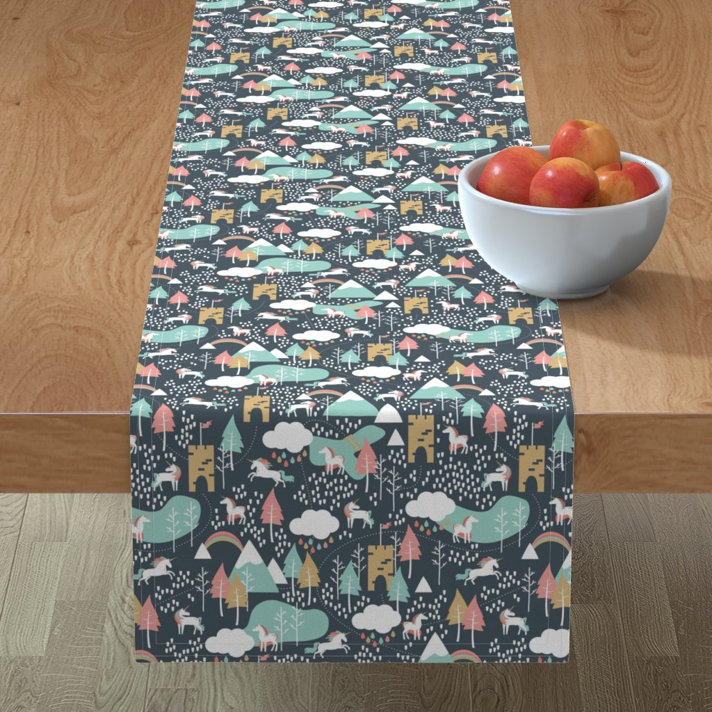 Minorca Table Runner featuring Unicorn Love - Small Scale by papercanoefabricshop