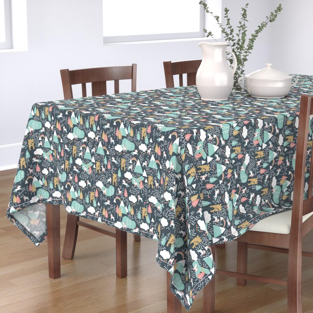 Bantam Rectangular Tablecloth featuring Unicorn Love - Small Scale by papercanoefabricshop