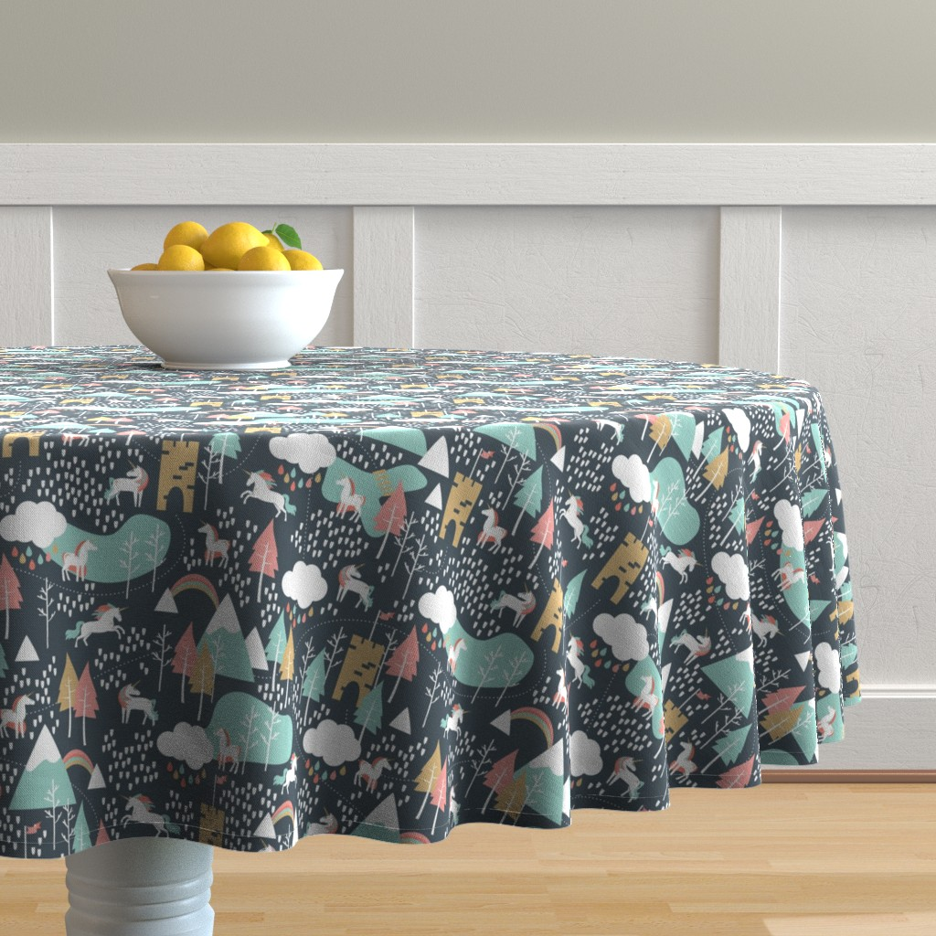 Malay Round Tablecloth featuring Unicorn Love - Small Scale by papercanoefabricshop