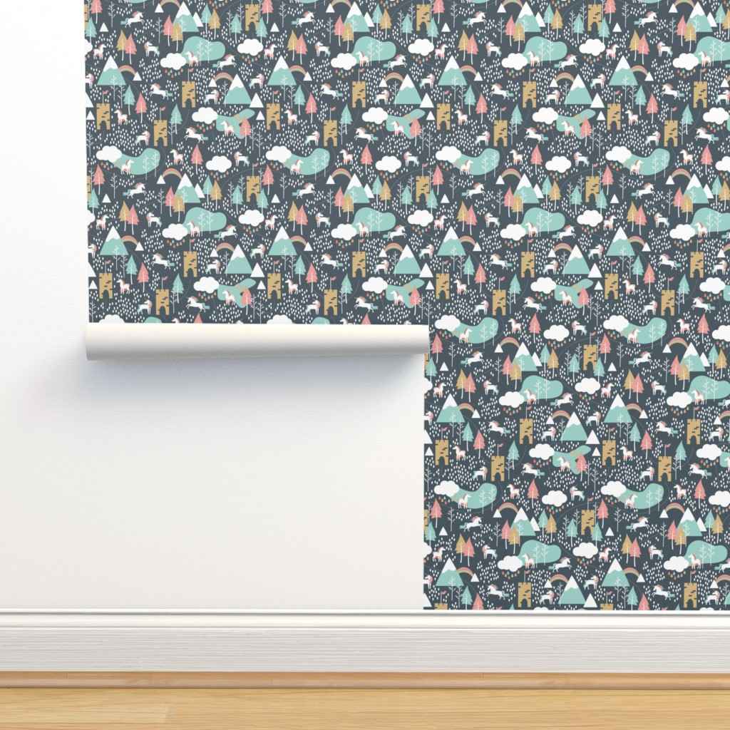 Isobar Durable Wallpaper featuring Unicorn Love - Small Scale by papercanoefabricshop