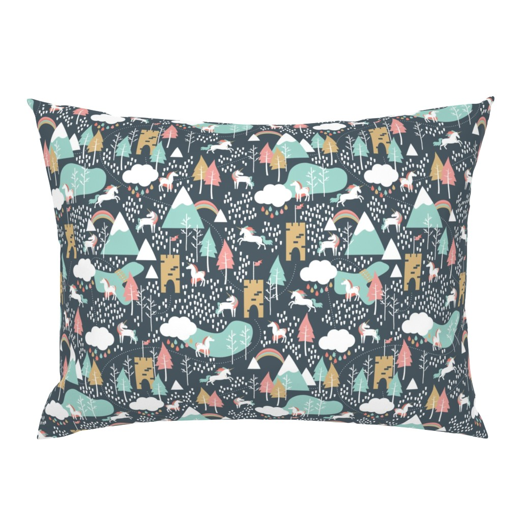 Campine Pillow Sham featuring Unicorn Love - Small Scale by papercanoefabricshop