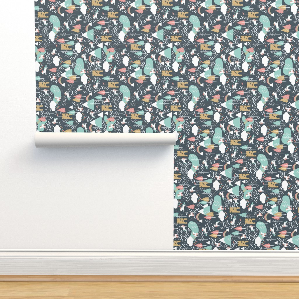 Isobar Durable Wallpaper featuring Unicorn Love - Rotated 90 by papercanoefabricshop
