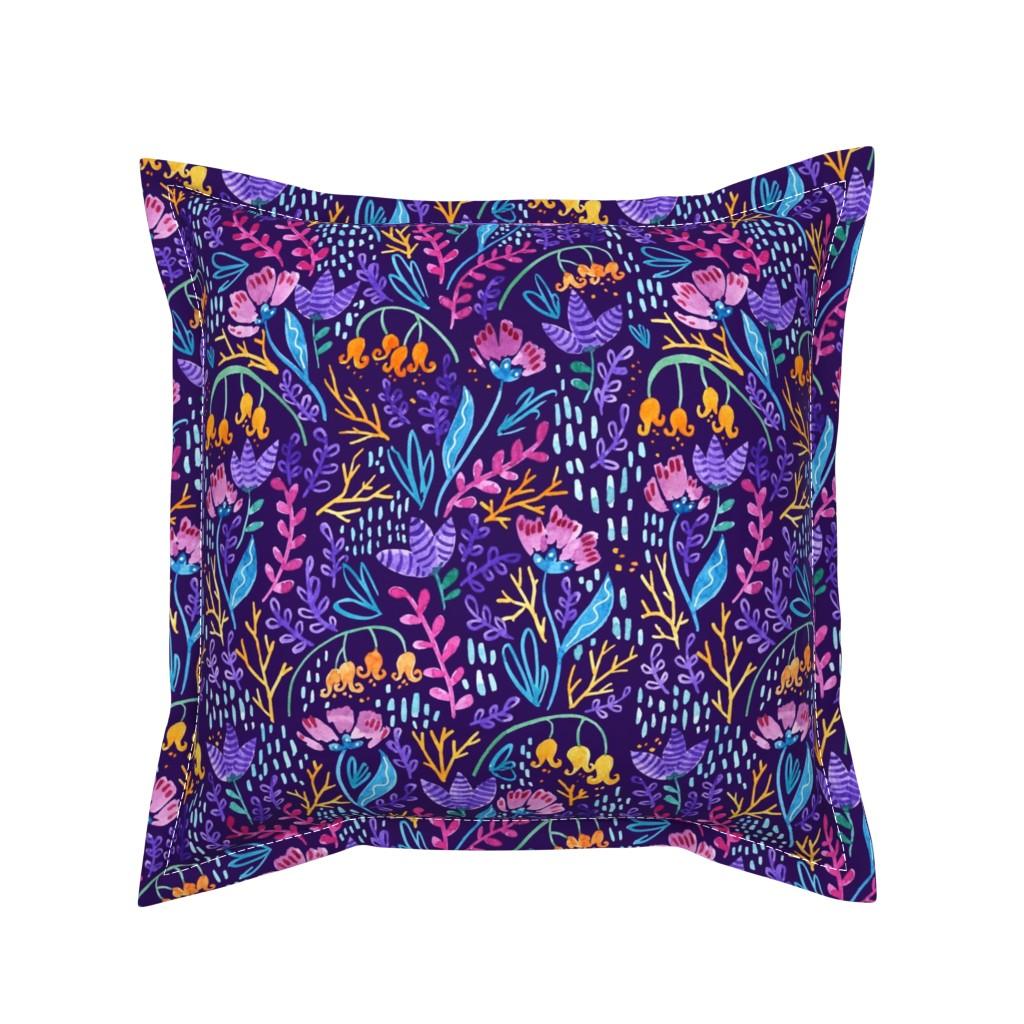 Serama Throw Pillow featuring Wonderland Flower Pattern - Purple Background by kitcronk