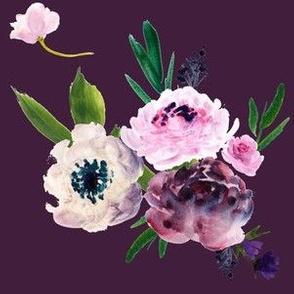 Dark Grey Beauty - Light Florals - Purple