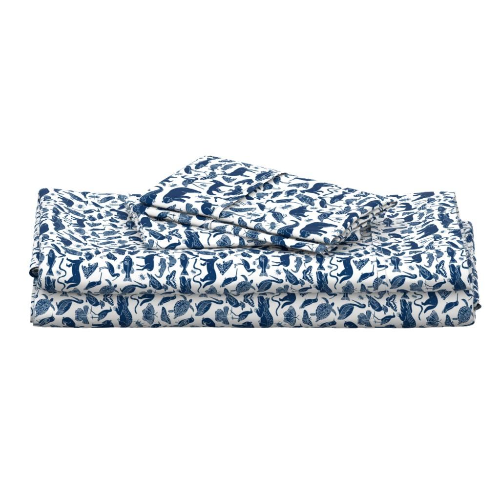 Langshan Full Bed Set featuring linocut animals // navy blue animals fabric zoo animals botanical design nursery baby kids fabric andrea lauren design by andrea_lauren