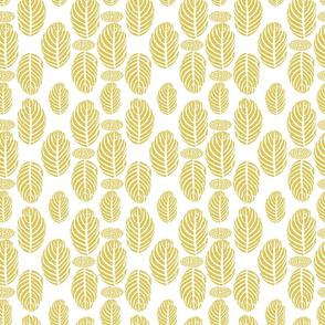 Tropical Leaves Block Print Khaki