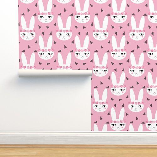 Bunny Rabbit Pink Baby Nursery Fabric Cu Spoonflower