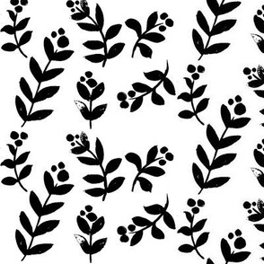 Simple Floral, black and white (larger version)