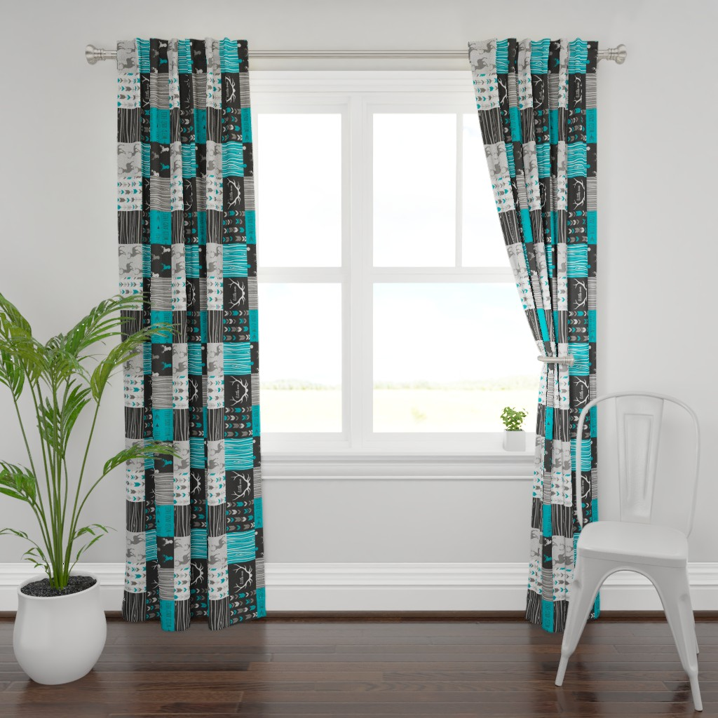 Plymouth Curtain Panel featuring WholeCloth Quilt- Ironwood --teal, charcoal ,grey deer, antler, arrows, Woodgrain patchwork squares-ch-ch-ch by sugarpinedesign