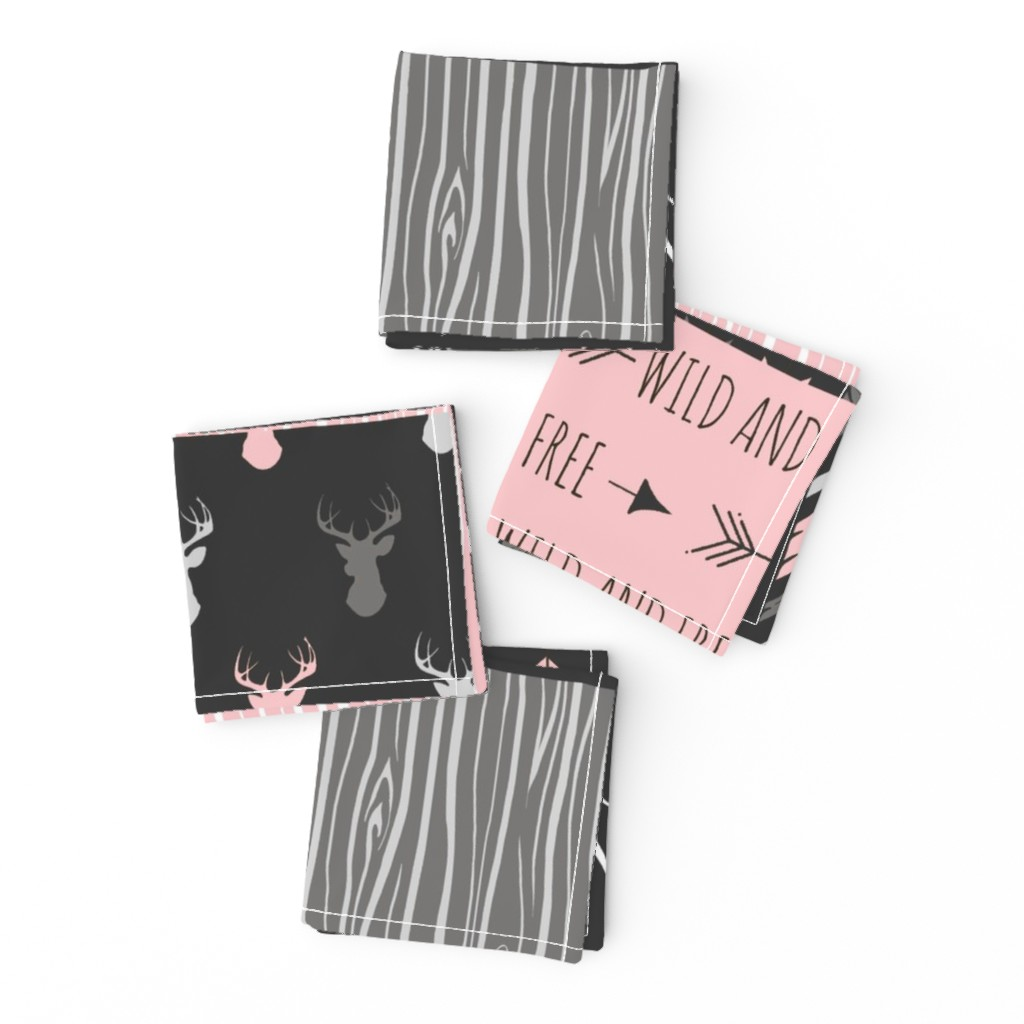 Frizzle Cocktail Napkins featuring WholeCloth Quilt- pink, black ,grey antler, arrows Woodgrain patchwork  by sugarpinedesign