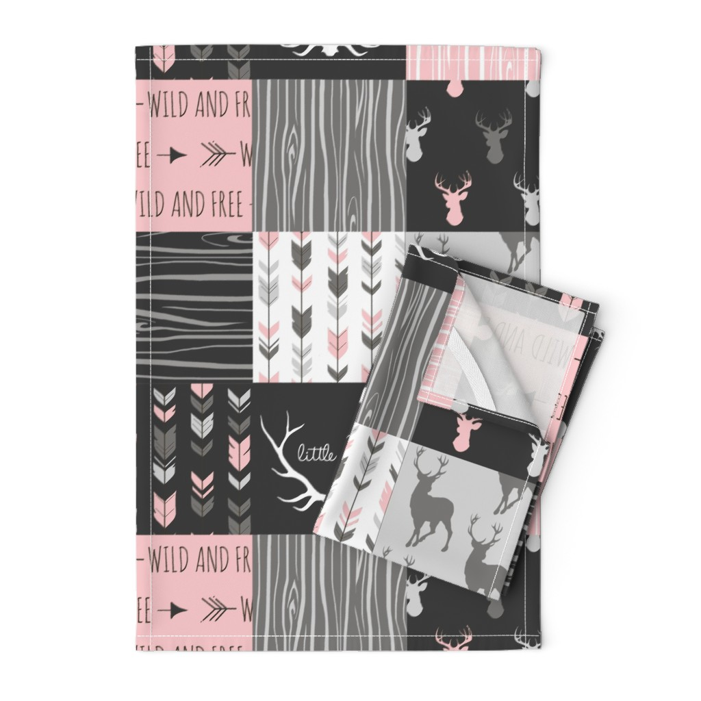Orpington Tea Towels featuring WholeCloth Quilt- pink, black ,grey antler, arrows Woodgrain patchwork  by sugarpinedesign