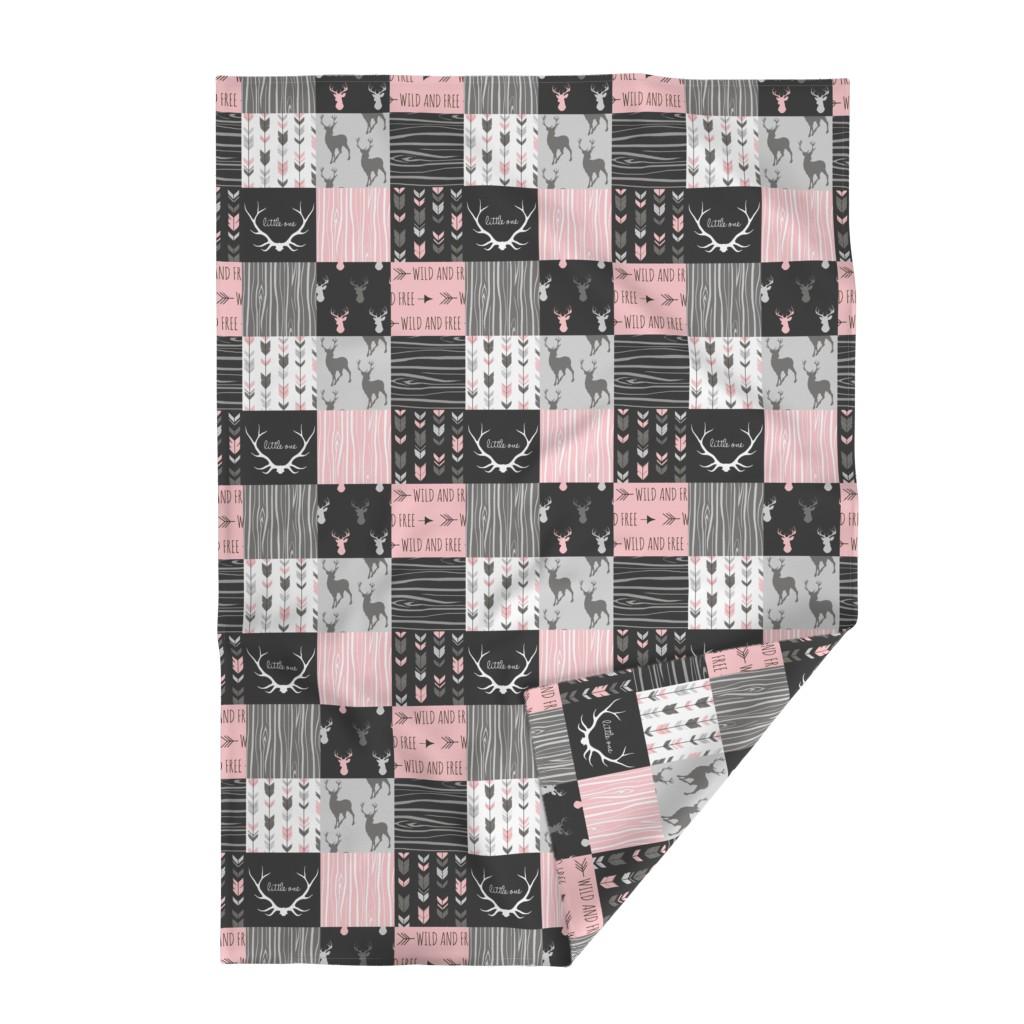 Lakenvelder Throw Blanket featuring WholeCloth Quilt- pink, black ,grey antler, arrows Woodgrain patchwork  by sugarpinedesign