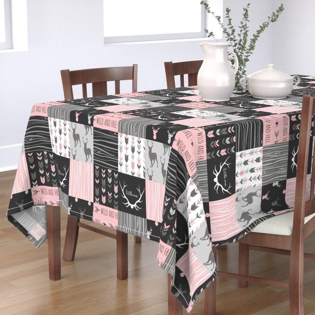Bantam Rectangular Tablecloth featuring WholeCloth Quilt- pink, black ,grey antler, arrows Woodgrain patchwork  by sugarpinedesign