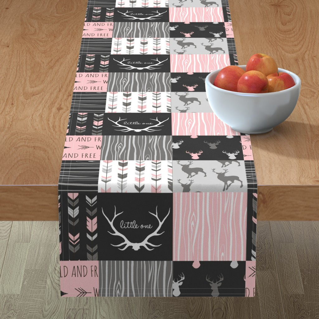 Minorca Table Runner featuring WholeCloth Quilt- pink, black ,grey antler, arrows Woodgrain patchwork  by sugarpinedesign
