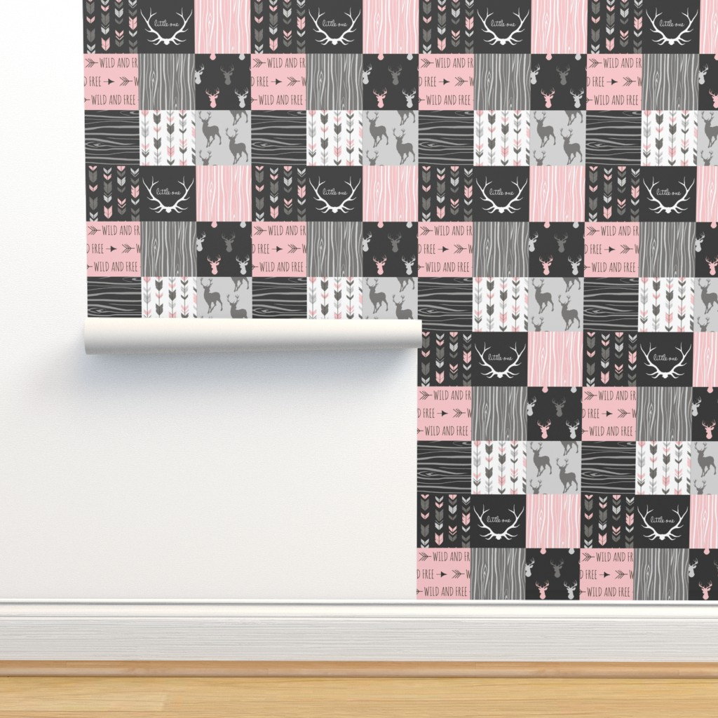 Isobar Durable Wallpaper featuring WholeCloth Quilt- pink, black ,grey antler, arrows Woodgrain patchwork  by sugarpinedesign