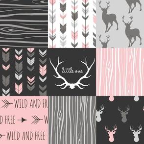 WholeCloth Quilt- pink, black ,grey antler, arrows Woodgrain patchwork