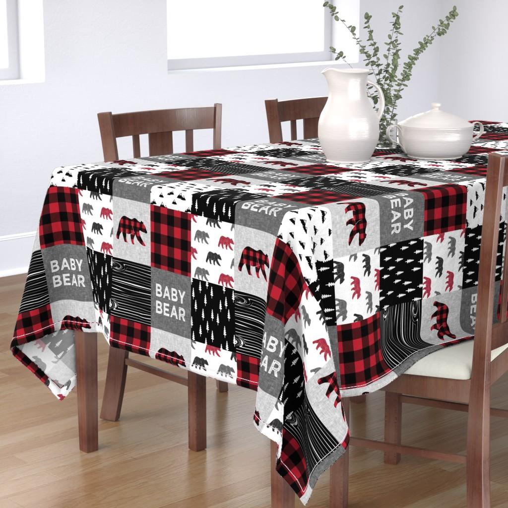 Bantam Rectangular Tablecloth featuring baby bear patchwork quilt top    buffalo plaid by littlearrowdesign