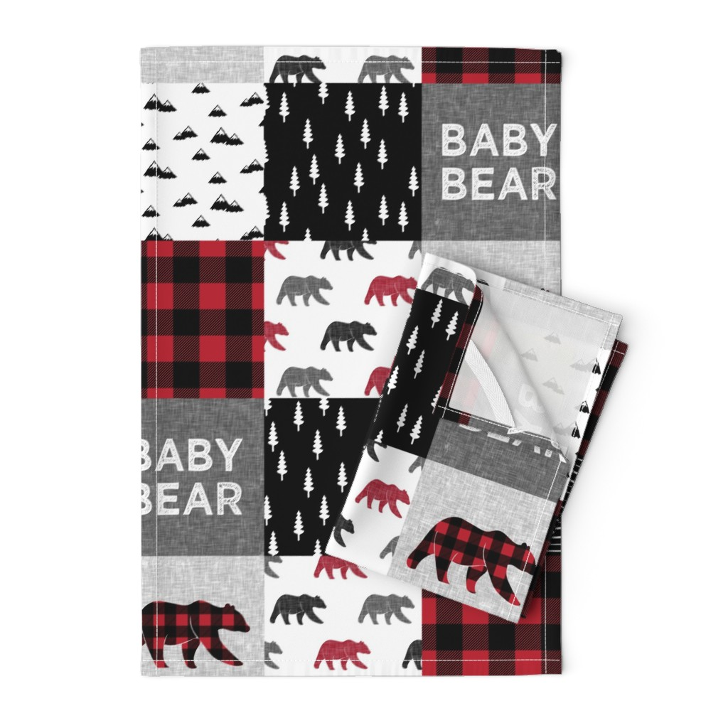 Orpington Tea Towels featuring baby bear patchwork quilt top || buffalo plaid by littlearrowdesign