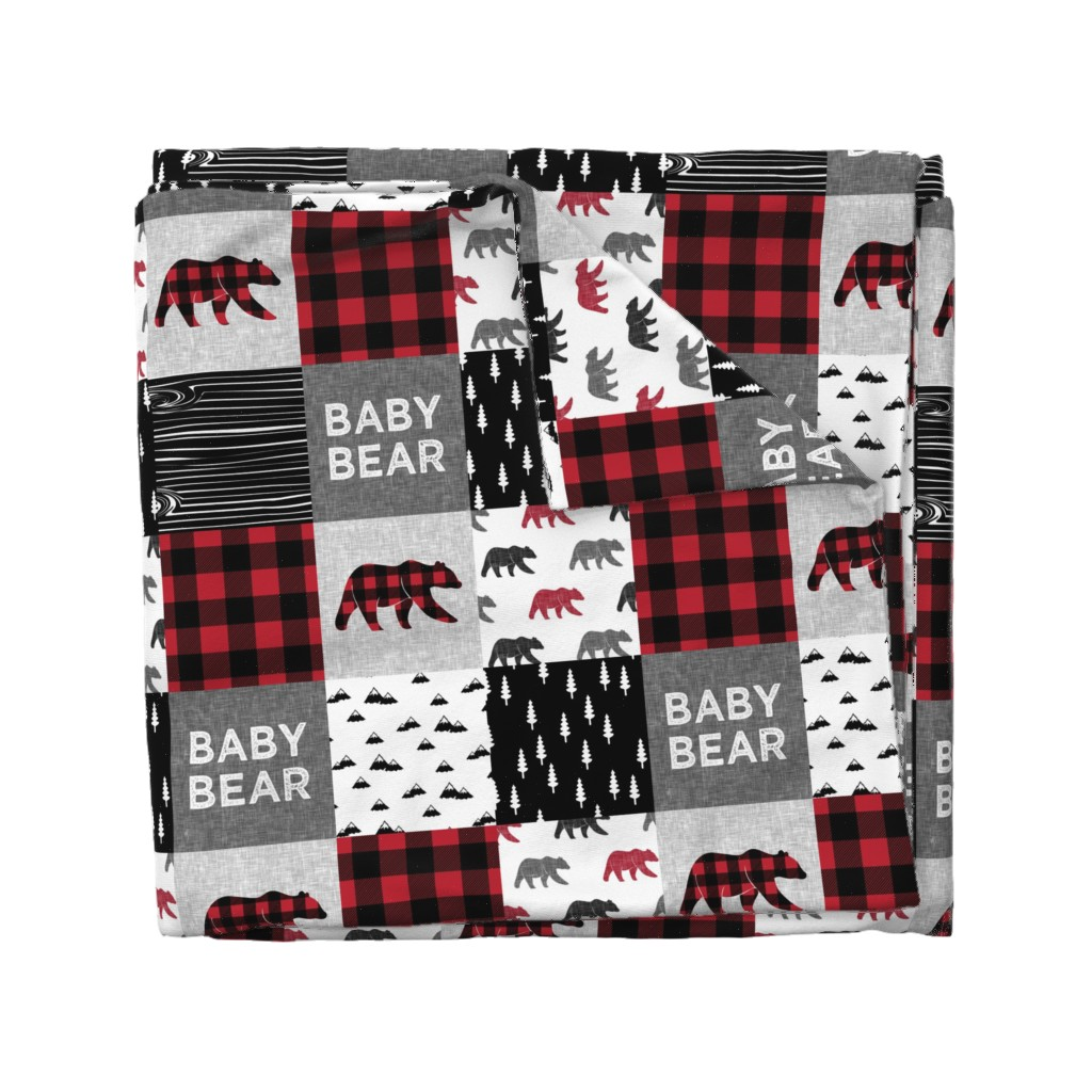 Wyandotte Duvet Cover featuring baby bear patchwork quilt top    buffalo plaid by littlearrowdesign