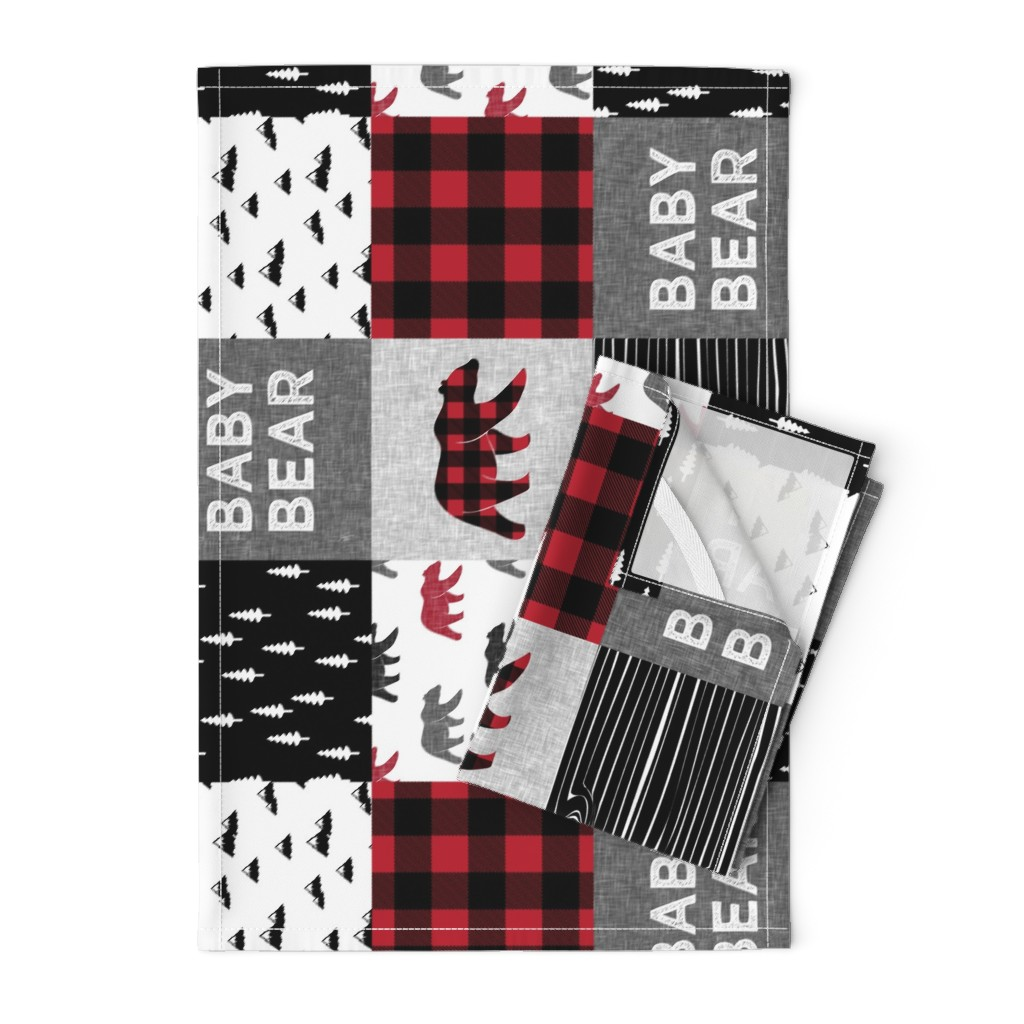 Orpington Tea Towels featuring baby bear patchwork quilt top (90) || buffalo plaid by littlearrowdesign