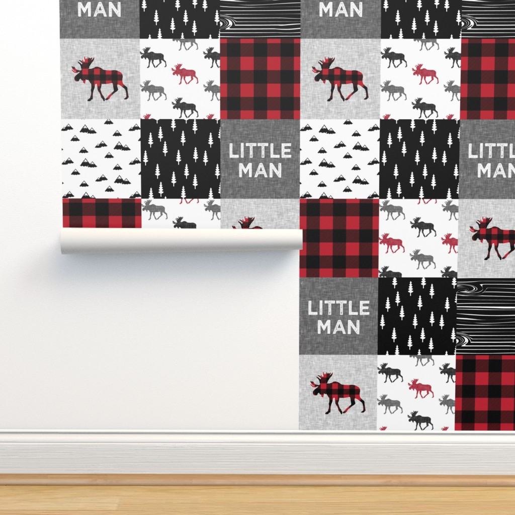 Isobar Durable Wallpaper featuring little man patchwork quilt top || moose buffalo plaid by littlearrowdesign