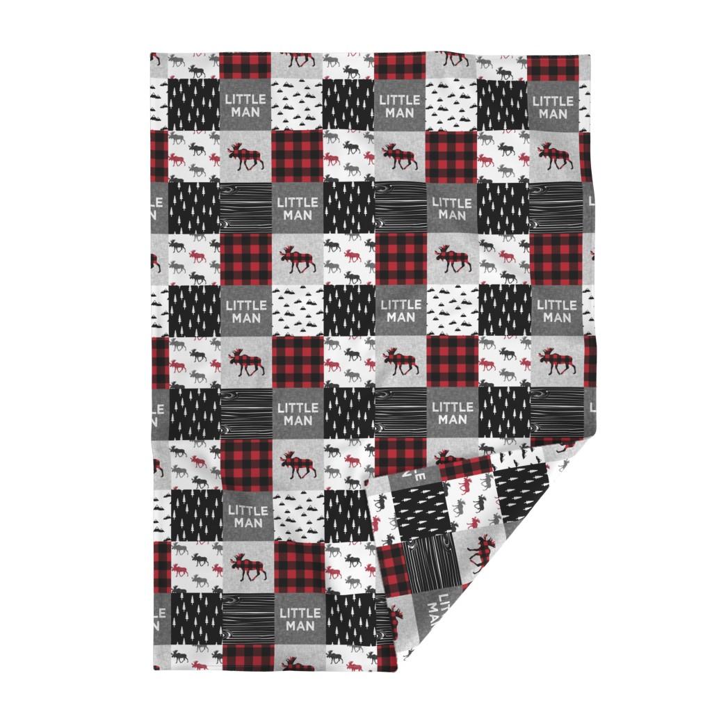 Lakenvelder Throw Blanket featuring little man patchwork quilt top || moose buffalo plaid by littlearrowdesign
