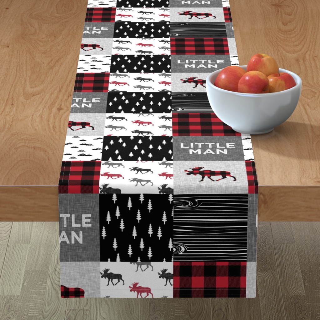 Minorca Table Runner featuring little man patchwork quilt top || moose buffalo plaid by littlearrowdesign