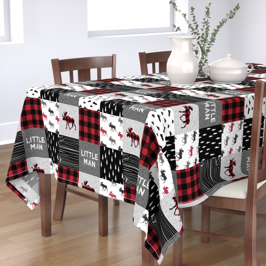 Bantam Rectangular Tablecloth featuring little man patchwork quilt top || moose buffalo plaid by littlearrowdesign