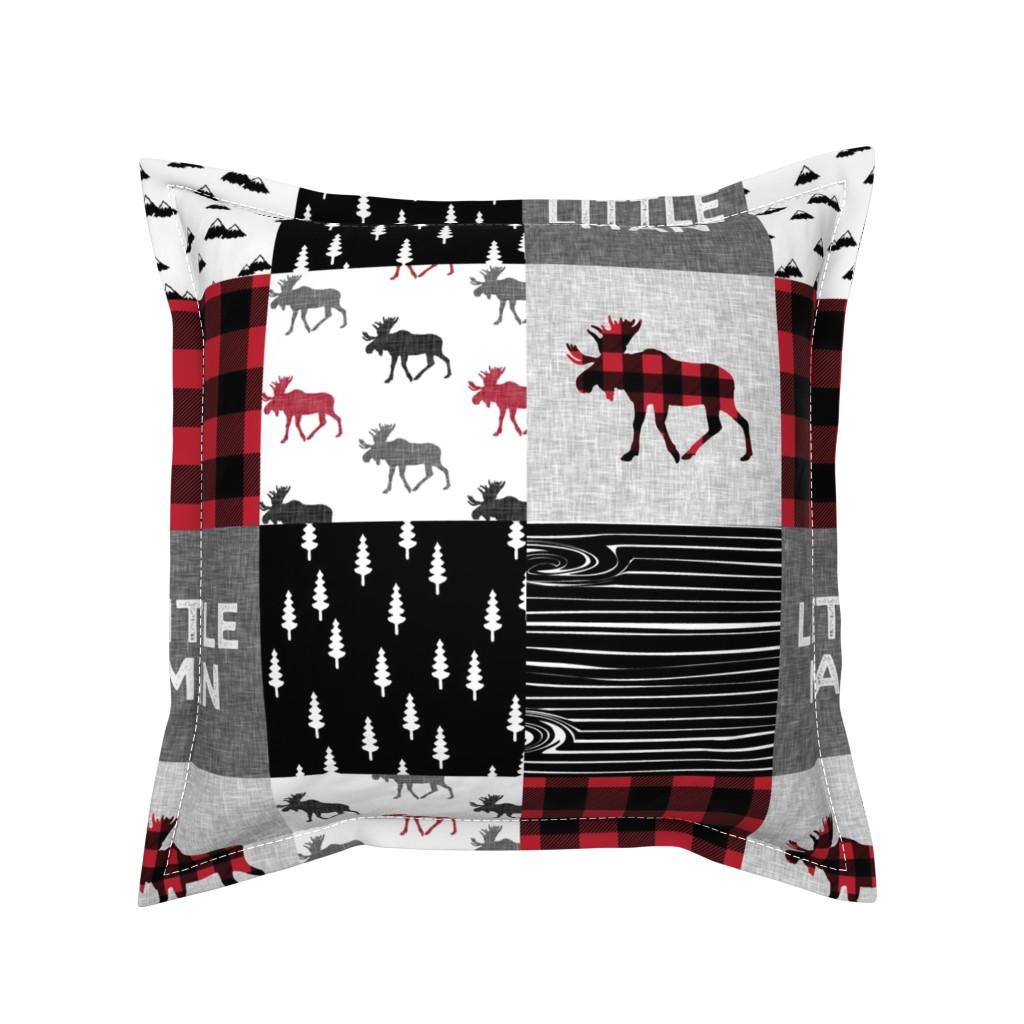 Serama Throw Pillow featuring little man patchwork quilt top || moose buffalo plaid by littlearrowdesign
