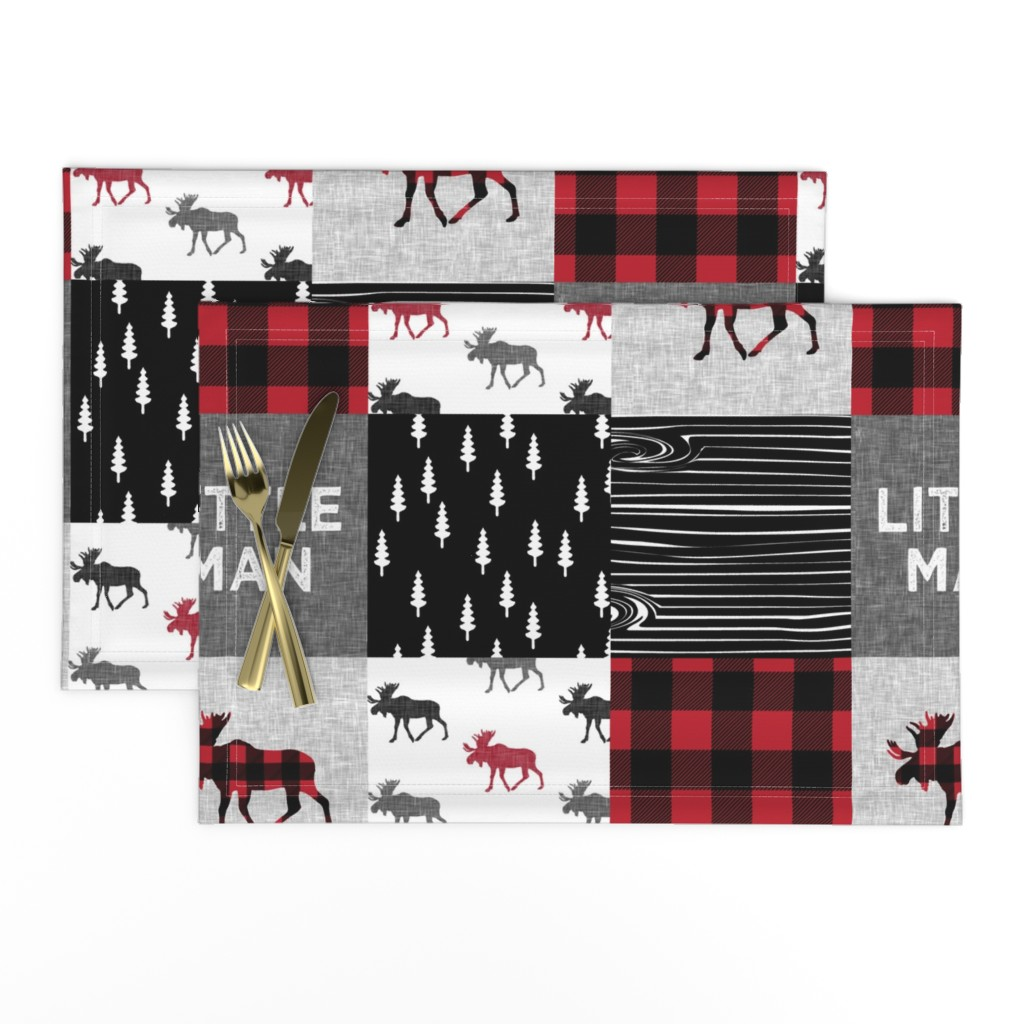 Lamona Cloth Placemats featuring little man patchwork quilt top || moose buffalo plaid by littlearrowdesign