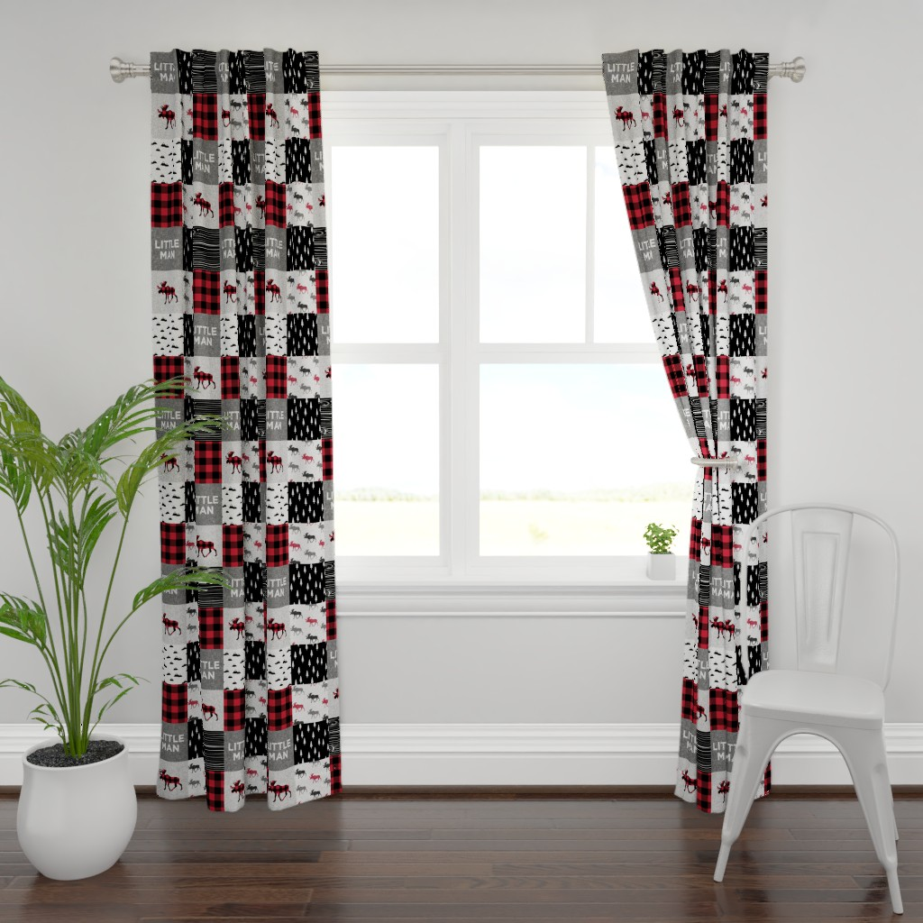 Plymouth Curtain Panel featuring little man patchwork quilt top || buffalo plaid by littlearrowdesign