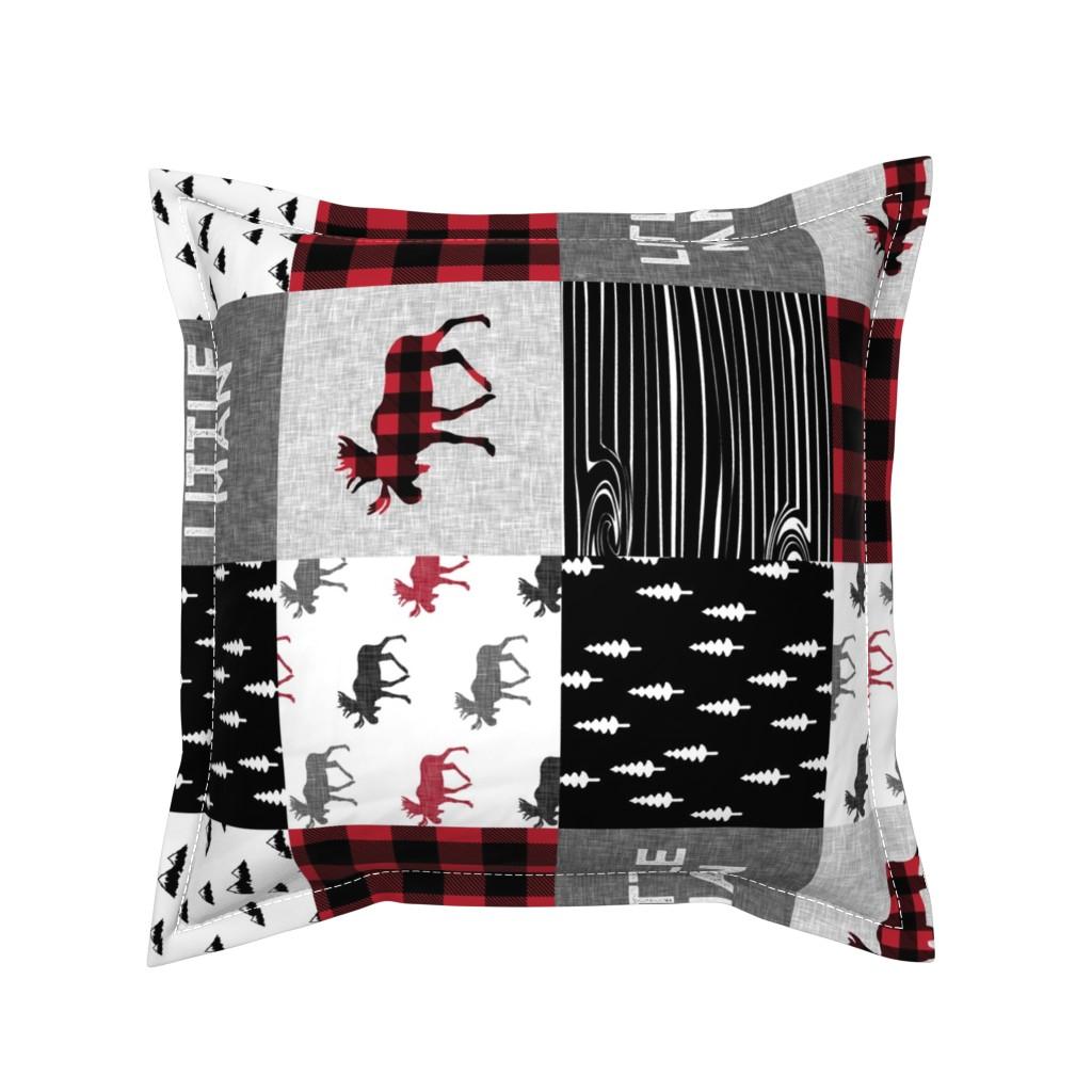 Serama Throw Pillow featuring little man patchwork quilt top (90) || buffalo plaid  by littlearrowdesign
